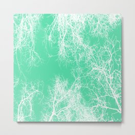 White silhouetted trees on green Metal Print