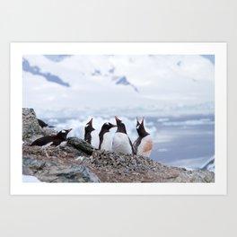 Penguins in Antarctica Art Print