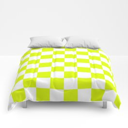Chartreuse Checkers Pattern Comforters