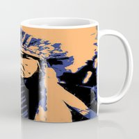native american Mugs featuring Native American Head Dress  by T.E.Perry