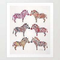 Zebras – Rainbow Palette Art Print