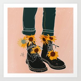 Sunflowers and Boots Art Print