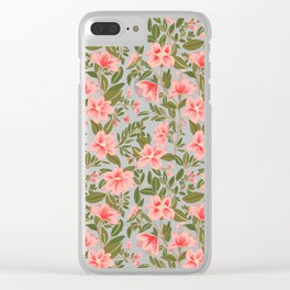 Tropical Pink Floral Pattern Clear iPhone Case