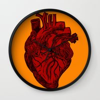 anatomical heart Wall Clocks featuring Anatomical Love by Orange Blood Gallery