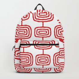 Mid Century Modern Atomic Rings Pattern Red 3 Backpack
