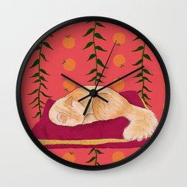 Royal Peach Cat Wall Clock
