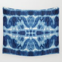 tie dye Wall Tapestries featuring Tie Dye Blues Twos by Nina May Designs