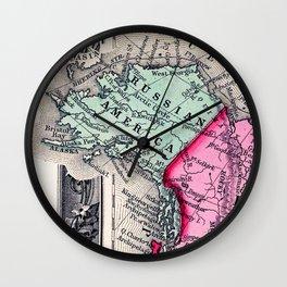 1860 Map, Russian America (Alaska) Wall Clock