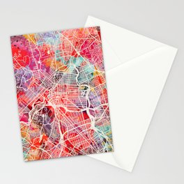 Paterson map New Jersey painting 2 Stationery Cards