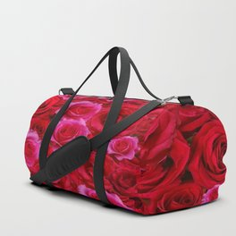 NATURE ART OF BED OF RED & PINK ROSE FLOWERS Duffle Bag
