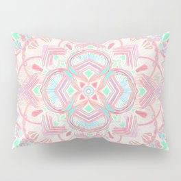 Mint and Blush Pink Painted Mandala Pillow Sham