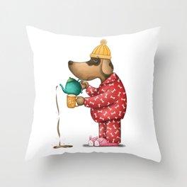 Sleepy Doggie Illustration Throw Pillow