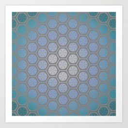 Hexagonal Dreams - Blue Turquoise Gradient Art Print