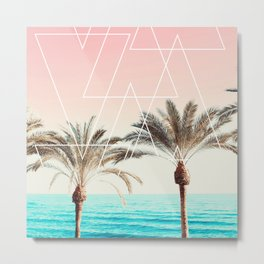 Modern tropical palm tree sunset pink blue beach photography white geometric triangles Metal Print