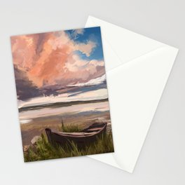 Sunrise over the lake Stationery Cards