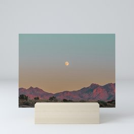 Sunset Moon Ridge // Grainy Red Mountain Range Desert Landscape Photography Yellow Fullmoon Blue Sky Mini Art Print