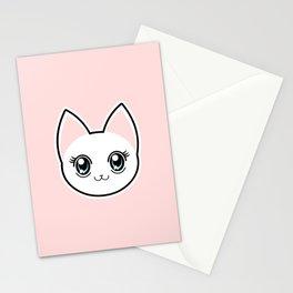 White Anime Eyes Cat Stationery Cards
