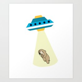 Alien Baby Sloth UFO Abduction Cute Art Print