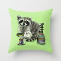 raccoon Throw Pillows featuring Raccoon by Anna Shell
