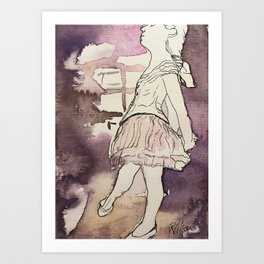 watercolor and ink sketch of Degas Little Dancer Art Print