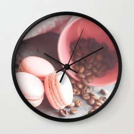Sweet cakes with coffeebeans in a cup Wall Clock