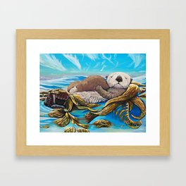 Sea Otter Mom & Pup Framed Art Print