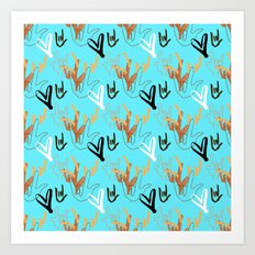 I Love You ILY - Turquoise Art Print
