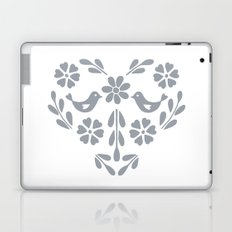 Silver heart shaped floral and birds Laptop & iPad Skin