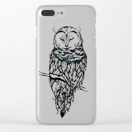 Poetic Snow Owl Clear iPhone Case