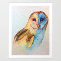 Barn Owl at Sunset Art Print