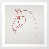 One line Horse 1606 Art Print