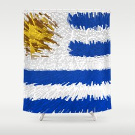 Extruded flag of Uruguay Shower Curtain