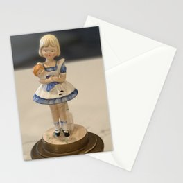 Vintage porcelain little girl with doll rotating music box Stationery Cards