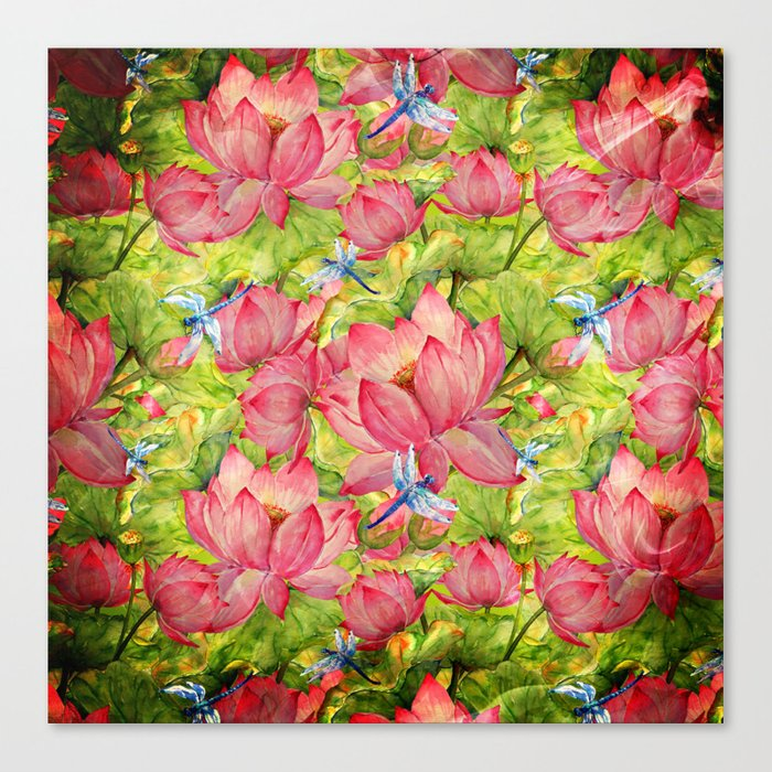 Floral Lotus Flowers Pattern with Dragonfly Canvas Print
