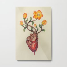 THIS BLEEDING BLOSSOMING HEART: ORANGE WILD ROSE Metal Print