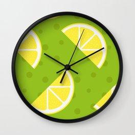 Yellow Lemon & Beautiful Green Background Wall Clock