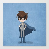 superhero Canvas Prints featuring Superhero by made by kale