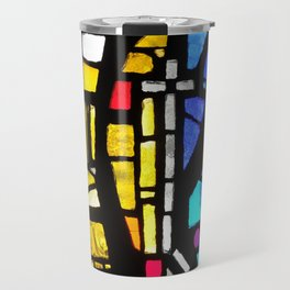 Stained Glass with Cross Travel Mug