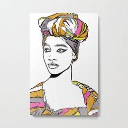 No. 33 - Stripes Portrait Illustration Metal Print