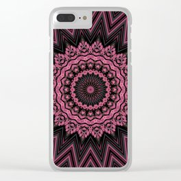 Black pink round ornament Clear iPhone Case