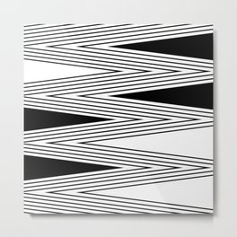 Black and white abstract pattern lined striped lines monochrome modern design Metal Print