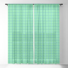 Peppermint Green and Blue Grid Sheer Curtain