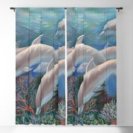 Happy Family - Dolphins Are Awesome Blackout Curtain