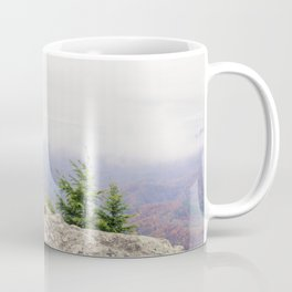 Blowing Rock Mountain and it's beautiful view from the mountain peak into the valley on a partly clo Coffee Mug