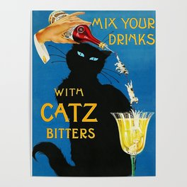 Mix Your Drinks with Catz (Cats) Bitters Aperitif Liquor Vintage Advertising Poster Poster