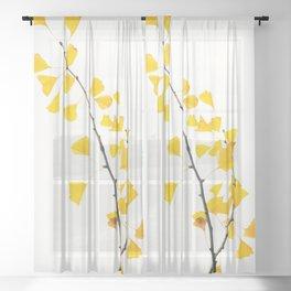 gingko biloba branch Sheer Curtain