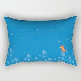 blue background with small bird Rectangular Pillow