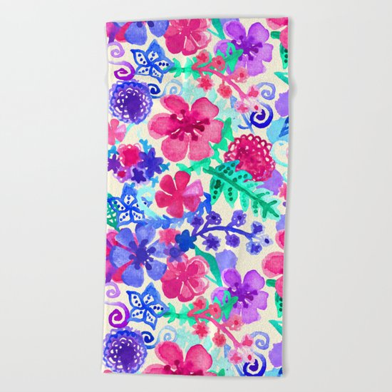 Fresh Watercolor Floral Pattern Beach Towel