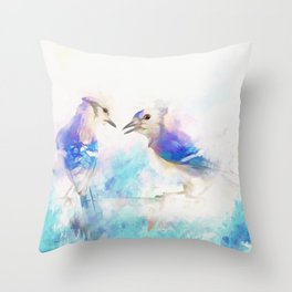 Cerulean Singers Throw Pillow