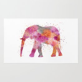 Artsy watercolor Elephant bright orange pink colors Rug